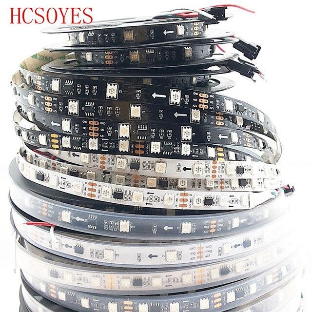 DC12V WS2811 1 メートル/3 メートル/5 メートル 30/48/60leds/メートル 5050 smd rgbスマートピクセルledストリップアドレス可能WS2811ICブラック/ホワイトpcb