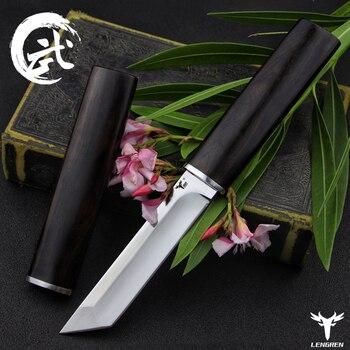 LENGREN D2 steel Japanese mirror knife, 58 60HRC vacuum heat treatment sharp camping hunting knife series (Samurai style) 1
