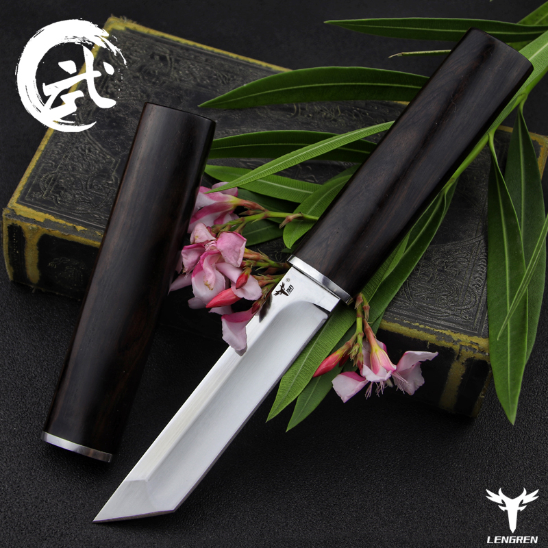 LENGREN D2 Steel Japanese Mirror Knife, 58 60HRC Vacuum Heat Treatment Sharp Camping Hunting Knife Series (Samurai Style)