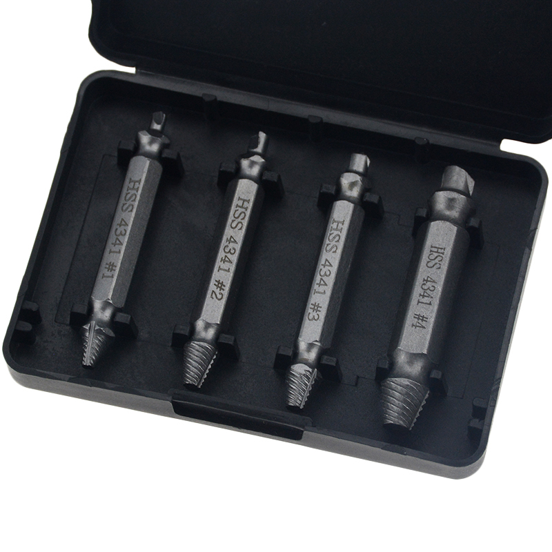 4pcs Damaged Screw Extractor Drill Bits Guide Set Broken Speed Out Easy Out Bolt Stud Stripped Screw Remover Tool