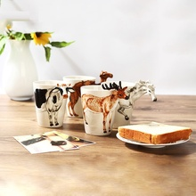 3D Creative 400ml Mug Animal Shape Hand Drawn Deer Giraffe Cattle Monkey Dog Waiting Horse Cup Gift Ceramic Coffee Milk