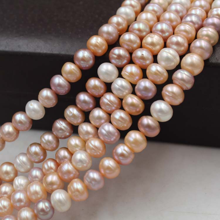 Natural freshwater pearl loose beads Mixed color flat beads bread beads / loaded DIY necklace bracelet earrings accessories