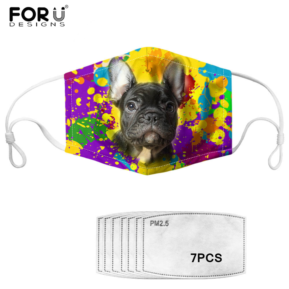 7pcs Filter Anti Haze PM2.5 Mask French Bulldog Print Mask Colorful Terrier Dog Cotton Mouth-muffle Multi Color Outdoor Supplies