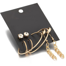 Gold earrings set long Big hoop for women round stud