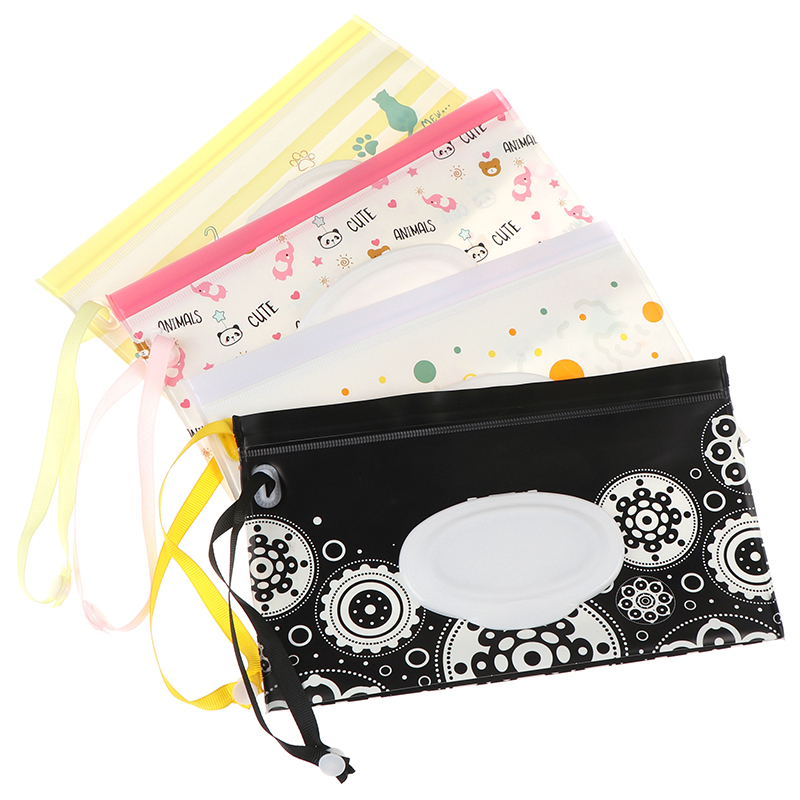 Fashion Eco-friendly Easy-carry Wet Wipes Bag Snap Strap Wipes Container Clamshell Cosmetic Pouch Clutch Cleaning Wipes Case