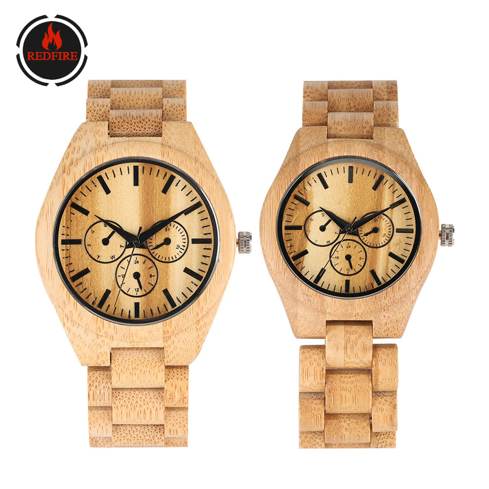 REDFIRE Decoration Small Dials Wood Watch Couple Watches Quartz Natural Bamboo Wood Watchband Folding Clasp Lovers Wooden Clock