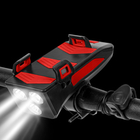 4 in1 telefono cellulare per bicicletta ricarica USB supporto per portapacchi faro altoparlante supporto per telefono per bici staffa di allarme campana luce anteriore
