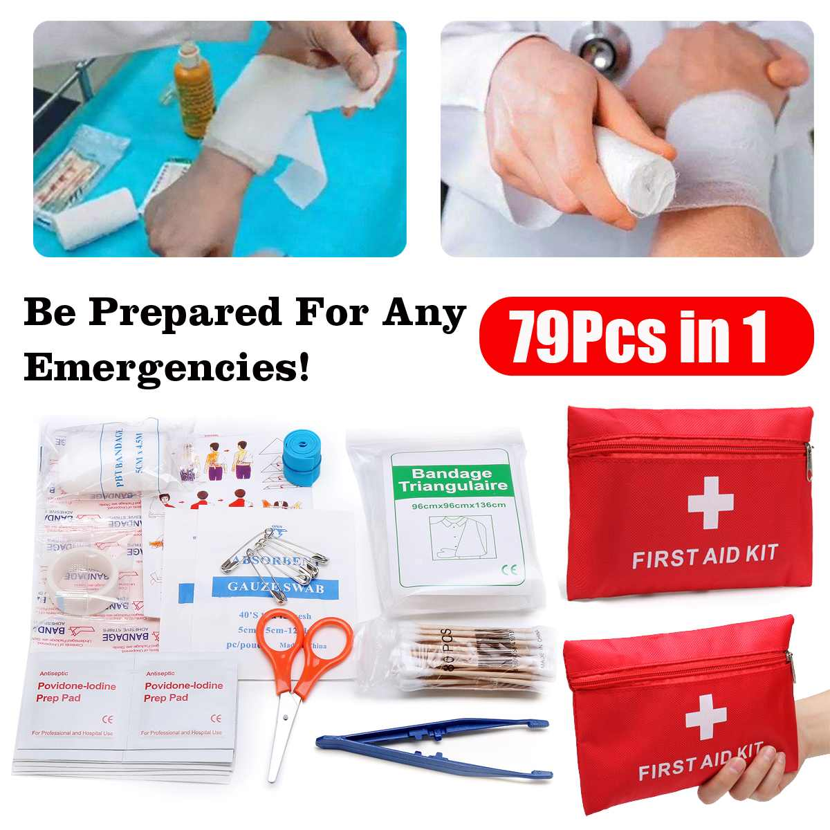 Newest 79pcs Mini Safe Camping Hiking Car First Aid Bag Kit Medical Emergency Kit Treatment Pack Outdoor Wilderness Survival