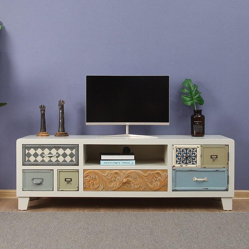Мебель чайный столик деревянный Средиземноморский твёрдый ТВ Стенд для гостиной дома деревянный шкаф аудиовизуальное окно залива на заказ
