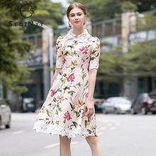 SEQINYY High Street Dress 2020 Summer Spring New Fashion Design White Lace Romantic Lily Flowers Printed Pink Knee Dress Women all sizes clear crystal white rectangle shape sew on rhinestones glass strass sewing crystal stones for dress making accessories