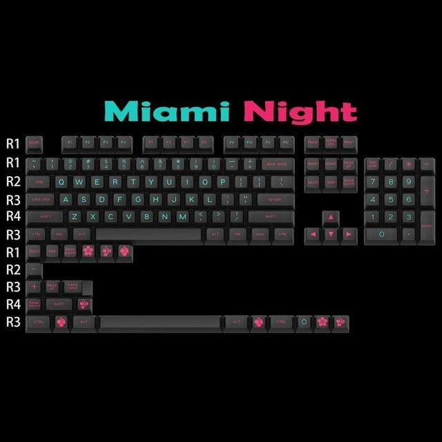 Mechanical Keyboard Keys MAXKEY MIAMI Keycaps SA Keycap Double Shot ABS Gaming Keycap 127 Keys For Cherry Mx