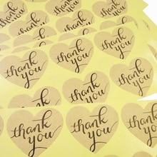 100pcs/pack Handwritten Thank You Cowhide Heart-shaped Cake Packaging Sealing Sticker Scrapbooking
