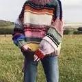 Ручной Работы Радуга полосатый свитер для женщин О образный вырез с длинным рукавом джемпер оверсайз мохер вязаный свитер зимний свитер Pull ...