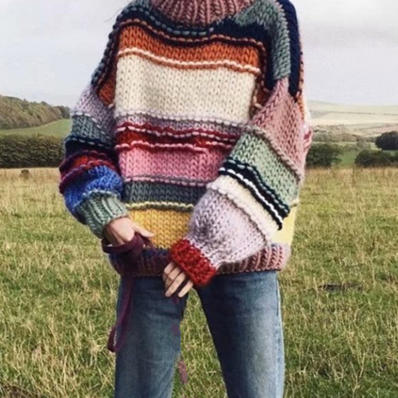 Handmade Rainbow Striped Sweater Women O Neck Long Sleeve Oversize Jumper Mohair Knitted Sweater Winter Sweater Pull Femme