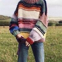 Handmade Rainbow Striped Sweater Women O Neck Long Sleeve Oversize Jumper Mohair Knitted Sweater Winter Sweater Pull Femme