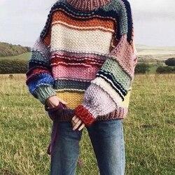 Suéter de rayas Arco Iris hecho a mano para mujer cuello redondo de manga larga puente de gran tamaño Mohair tejido Jersey de invierno Pull Femme