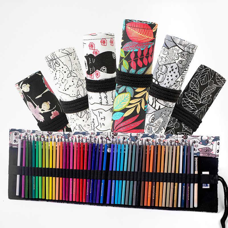 12/24/36/48/72 ม้วนกระเป๋าใส่ดินสอ Kawaii ผ้าใบปากกากระเป๋ากล่อง Penal สำหรับเด็กน่ารัก Pencilcase Penalties โรงเรียนเครื่องเขียน