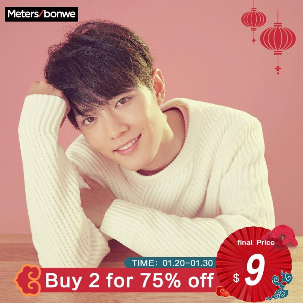 Metersbonwe Sweater Men 2019 Autumn Winter Fashion Basic Knitted Solid Colour Men Cotton Sweater High Quality Clothes