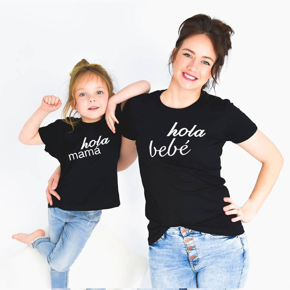 Matching Bebe Mummy Mama Outfits And Me Black Short Hola Mom's Teesummer Kids