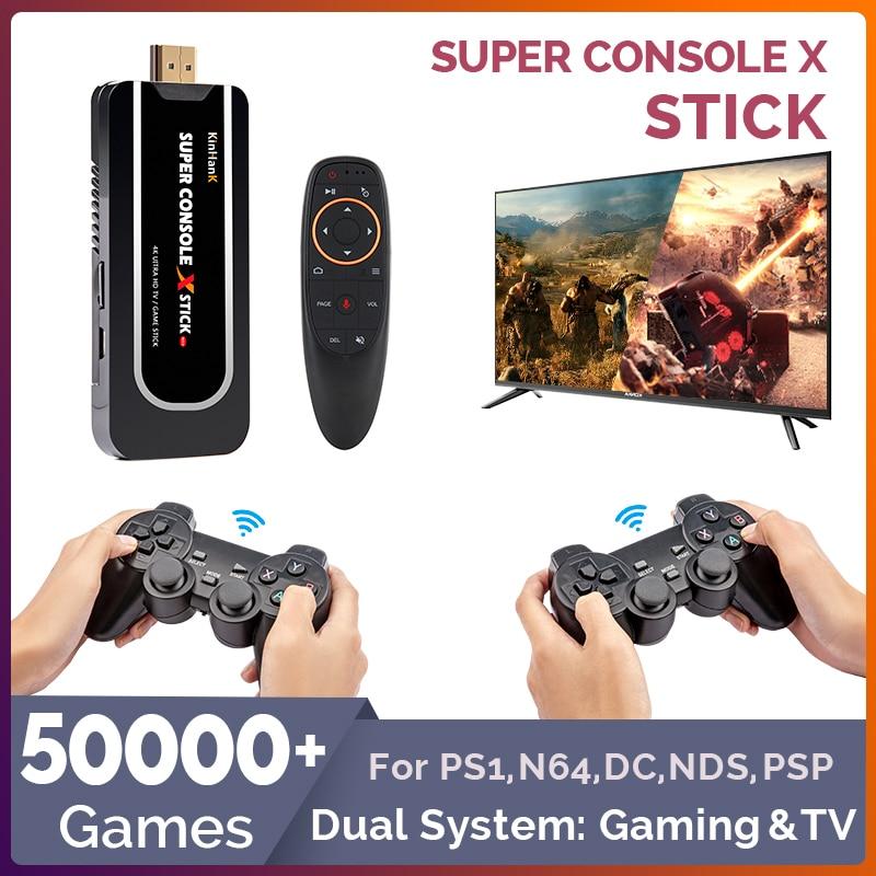 50000 + jogos console de jogo retro portátil para ps1/n64/dc sistema duplo gaming & tv mini jogadores de jogos de vídeo hdmi wifi com fio/sem fio