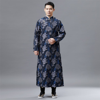 Cut long shirt retro Chinese style cheongsam male relief cut flower pattern national clothing plate buckle mandarin robe kung fu