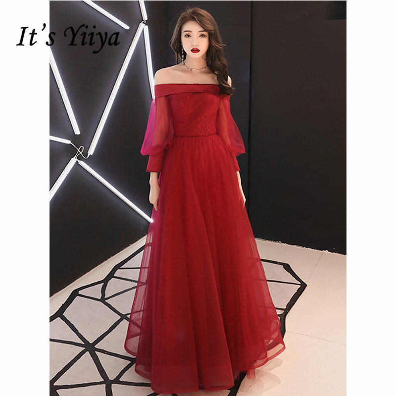 It's Yiiya Evening Dress 2019 Lantern Sleeve Boat Neck Burgundy A-Line Floor Length Dresses Elegant Lace Up Formal Gowns E1080
