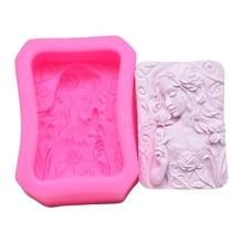 DIY Silicone Mold Rose Girl Cake Handmade Soap  Fondant Kitchen Accessories
