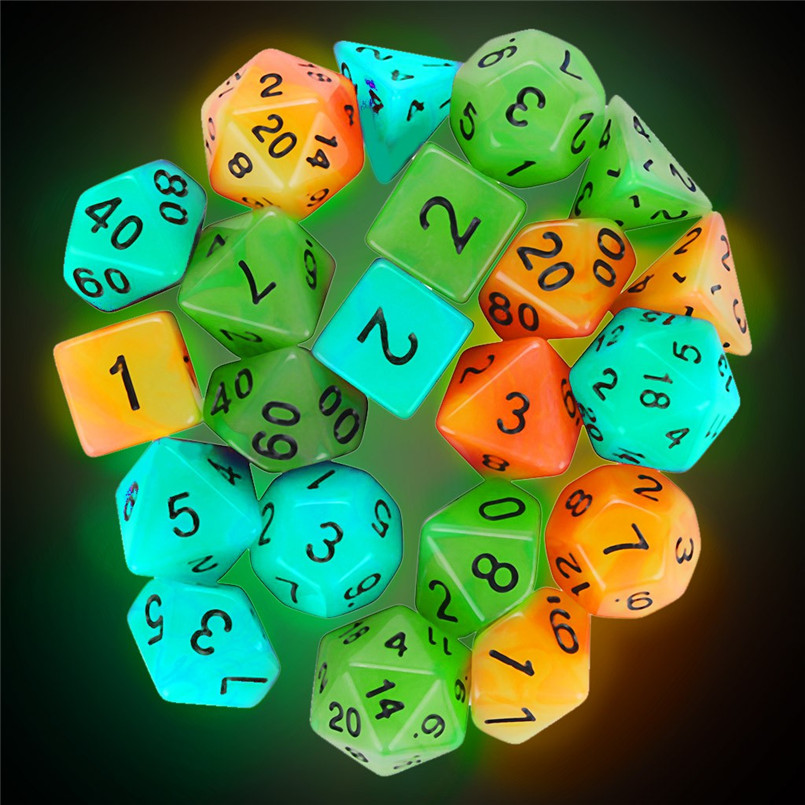 7Pcs Luminous Multi-faced Dice Set Happy Game Dados De Rpg Glowing TRPG Game Polyhedron D20 Multi-faceted Acrylic Dice 30A20