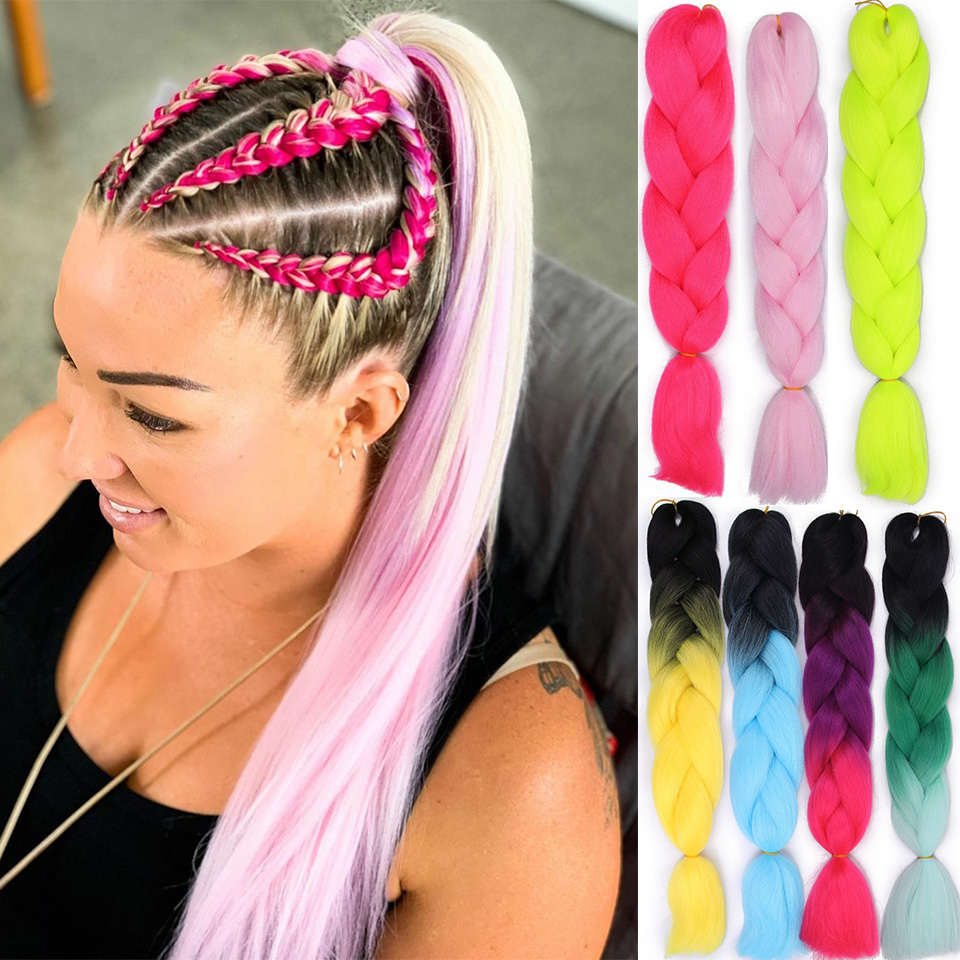 Jumbo Braids Synthetic Braiding Hair Extensions For Girls  Women Lady Hair Braidings  Mix/Pure Color Kanikalon Hair Crotchet