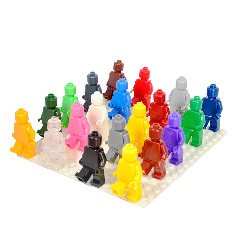 24PCS/LOT Blank Unprinted Pure Moulding Bricks Monochrome Figures Plain Color Building Blocks Legoe Minifigured Kids Gift Toys