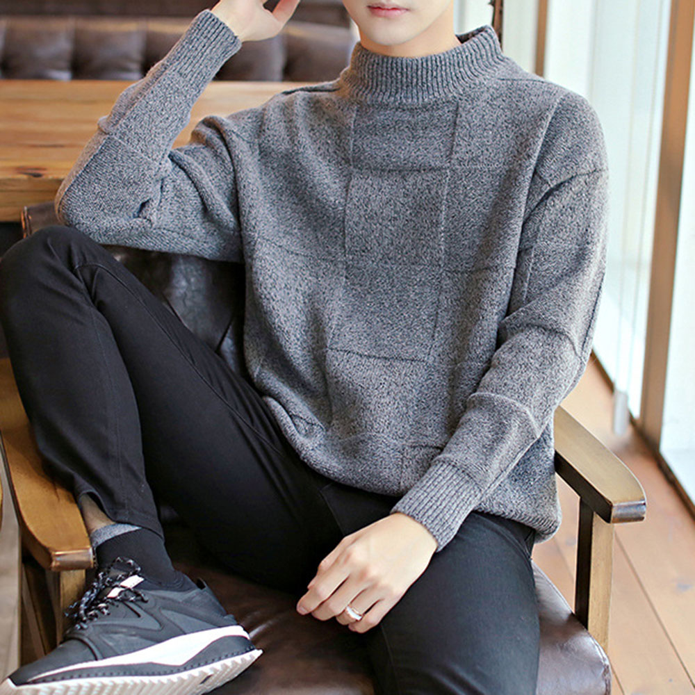 Korean Long Sleeve Sweater For Men 2019 Autumn Winter Fashion Solid Knitting Tops Male Pullover Jumper Casual Loose Turtle Neck
