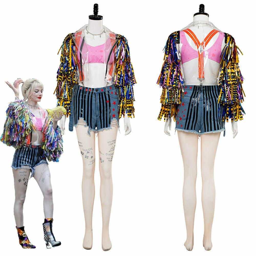 2020 Movie Birds Of Prey: And The Fantabulous Emancipation Of Cosplay Costume Clown Woman Clothing Outfit Coat Underwear Shorts