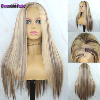 Beautiful Diary Futura Hair Heat Reistant Synthetic Wigs For Black Women Silky Straight Gluesless Ombre Blonde - discount item  35% OFF Synthetic Hair