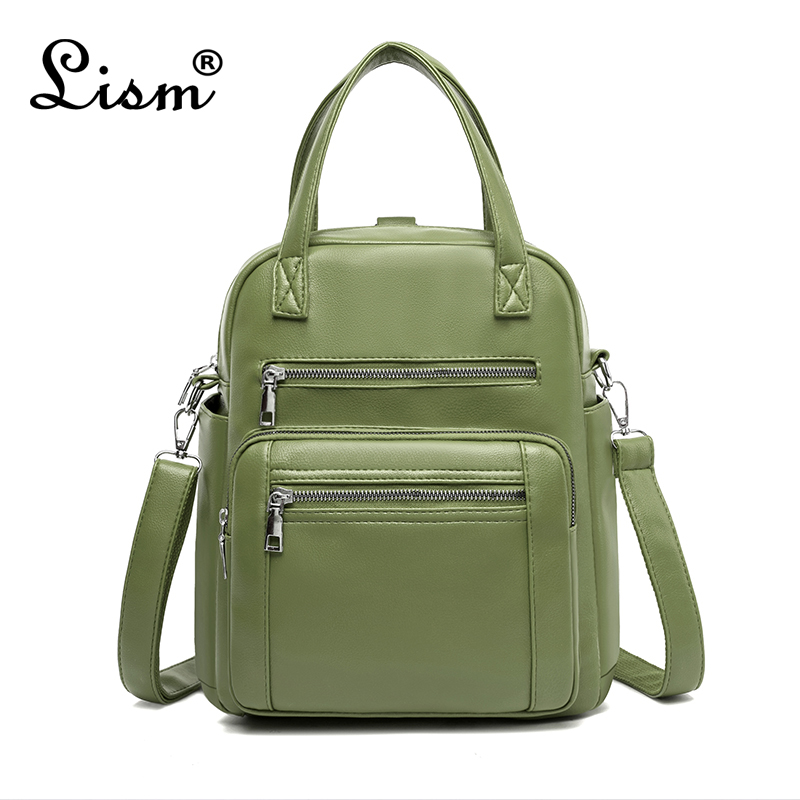 Backpack 2020 New Ladies PU Leather Multifunctional Bag Casual Large Capacity Student Schoolbag Green Main