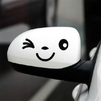 3pcs/set 11.5cm*5cm Smile Face Car Rearview Mirror Sticker Black Car Decal For All Car