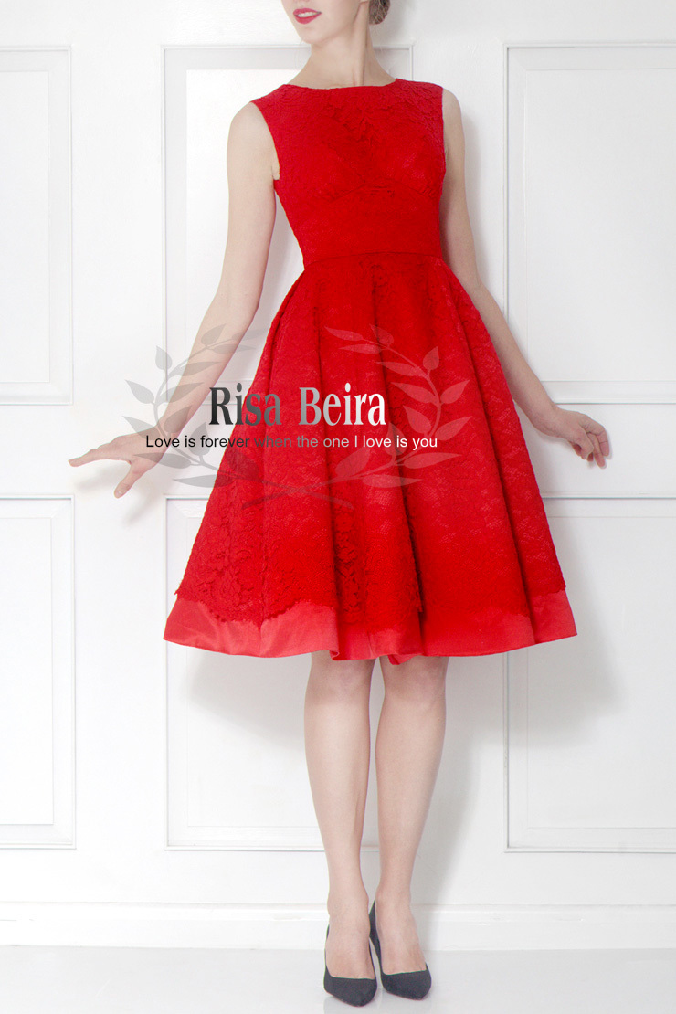 Free Shipping Custom A-line Vestido De Festa New Fashion Knee-length Red Lace Prom Gown 2018 Sexy Party Gown Bridesmaid Dresses