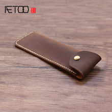 AETOO Mad Horse leather retro creative pen bag, signature buckle protective case, portable handmade bag