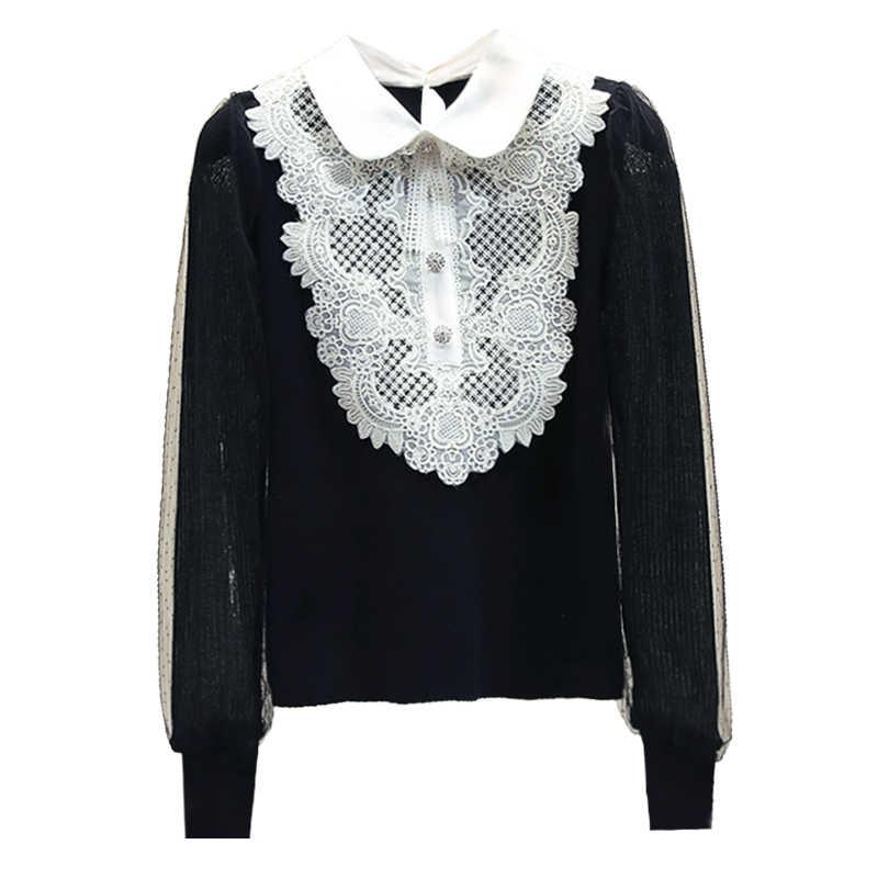 Gebreide Blouse Vrouwen Herfst Winter Korte Kant Revers Kraag Lange Mouwen Knit Shirt Pull Blusas Femme Nancylim Wit Zwart