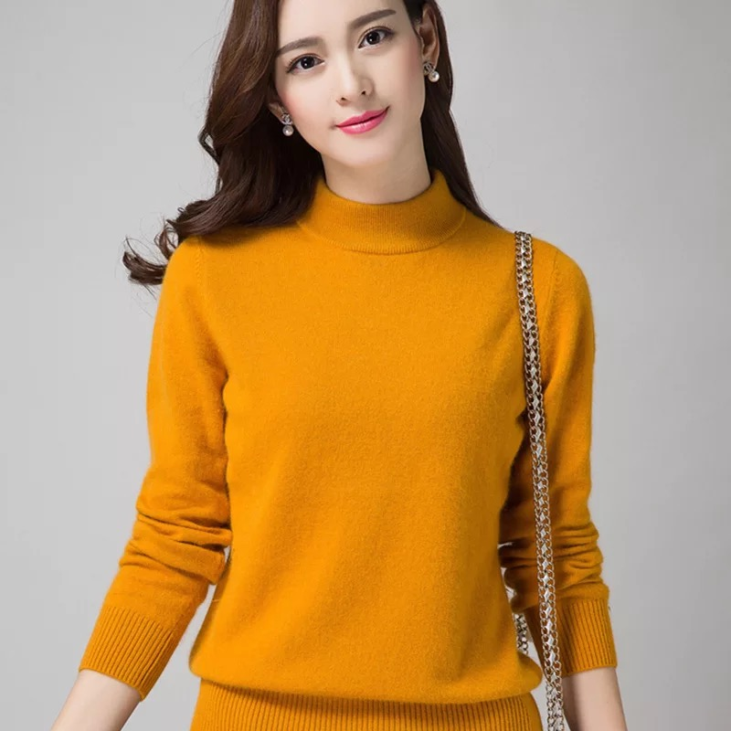 Women  Turtleneck Regular Fit Colorful Base-shirt Winter Cashmere Sweater