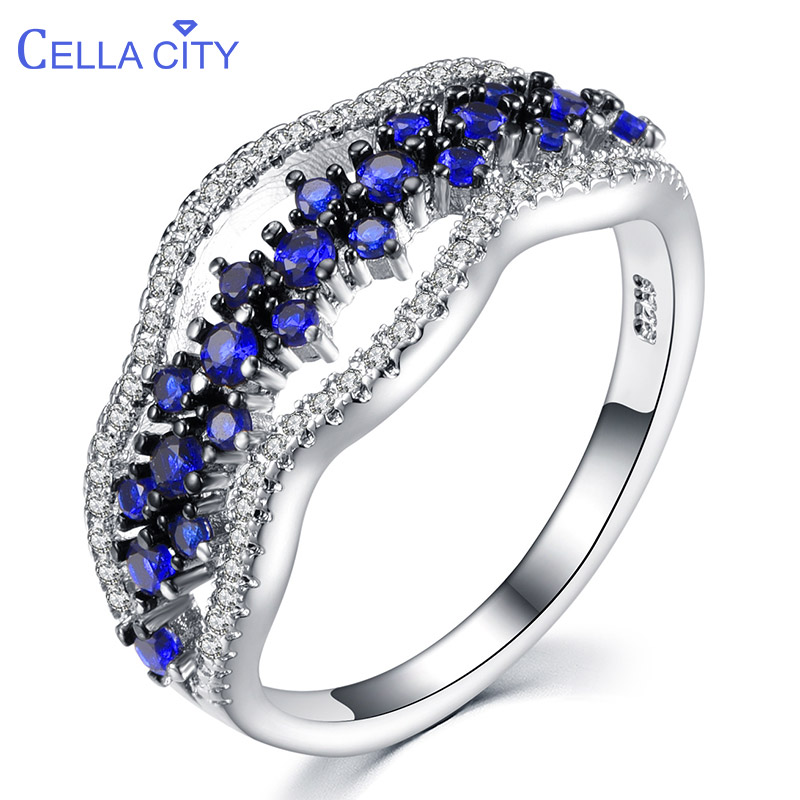 Cellacity Sapphire Rings For Women Silver 925 Fine Jewelry With Gemstones Size5,6,7,8,9,10 Chic Female Anniversary Ring Party