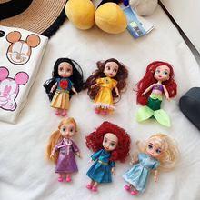 6Pcs Animator Salon Doll Snow White Princess Doll Elegance Rapunzel Cinderella Girl Aurora Doll Chil