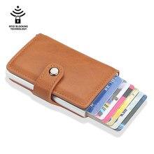 Tarjeteros antimagnéticos Rfid para hombre y mujer, carteras inteligentes de piel sintética, monedero Vintage corto, Mini bolsa para dinero