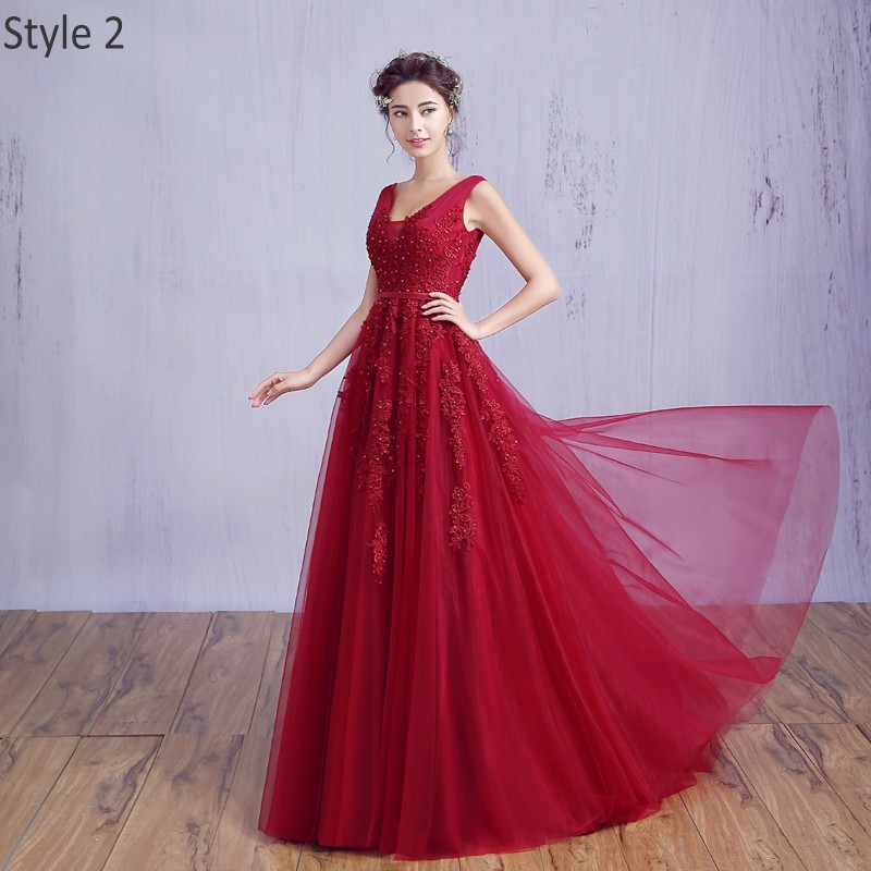 [Clearance Sale] Chiffon Long Evening Dress 2019 Formal Dresses Evening Gown Elegant Beaded Boidce with Zipper Back