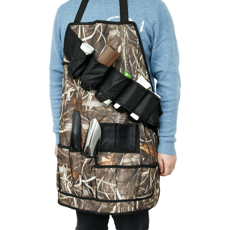 Camping Camouflage Barbecue Picnic Apron Multifunction Waterproof BBQ Grill Beer Condiment Holder Outdoor Tools