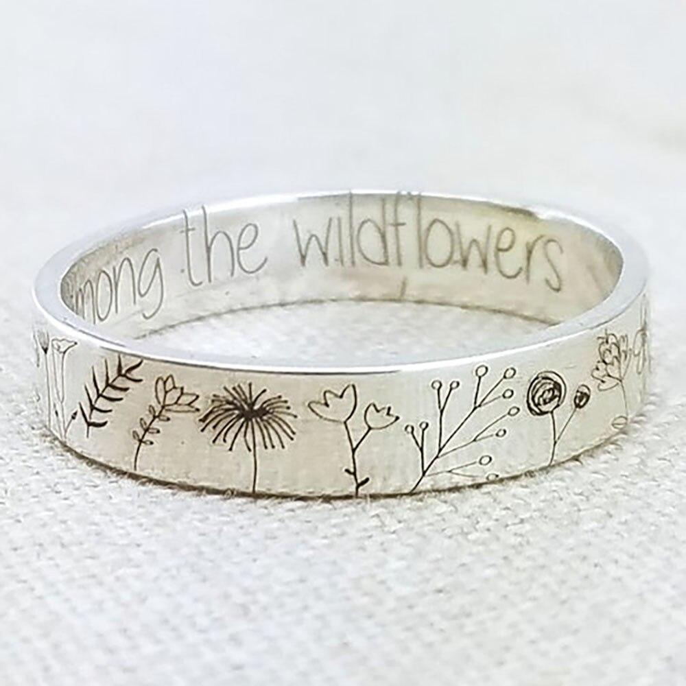Vintage Eenvoud Gesneden Bloem Ring Voor Vrouwen Mannen Bohemian Delicate Wildflowers Bloemen Daisy Handgemaakte Ring Voor Vrouwelijke Gift