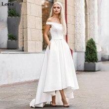 לורי 2019 Boho חתונה שמלה עם כיס Hi Lo שמלות הכלה Vestido דה novia סאטן כבוי כתף אלגנטי שמלת כלה