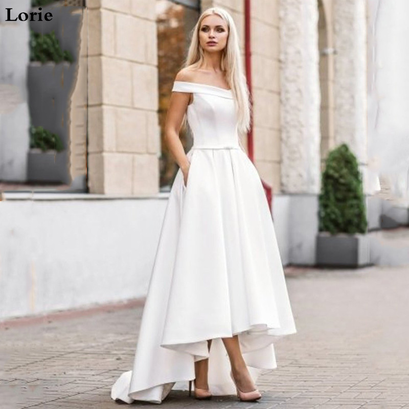 Lorie 2019 Boho Wedding Dress With Pocket  Hi-Lo Bride Dresses Vestido De Novia Satin Off The Shoulder Elegant Wedding Gown