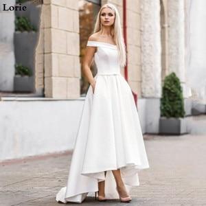 Image 1 - Lorie 2019 Boho Wedding Dress with Pocket  Hi Lo Bride Dresses Vestido de novia Satin Off The Shoulder Elegant Wedding Gown