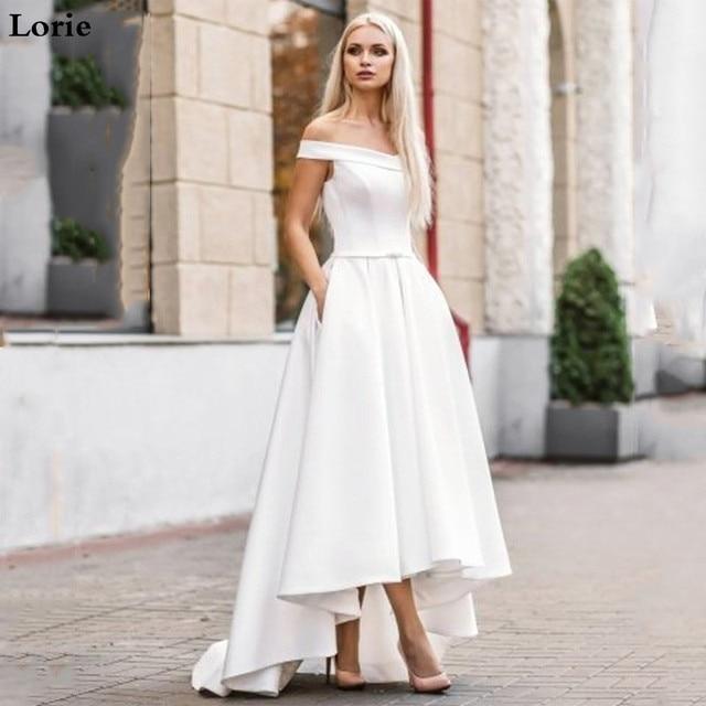 Lorie 2019 Boho Wedding Dress with Pocket  Hi Lo Bride Dresses Vestido de novia Satin Off The Shoulder Elegant Wedding Gown