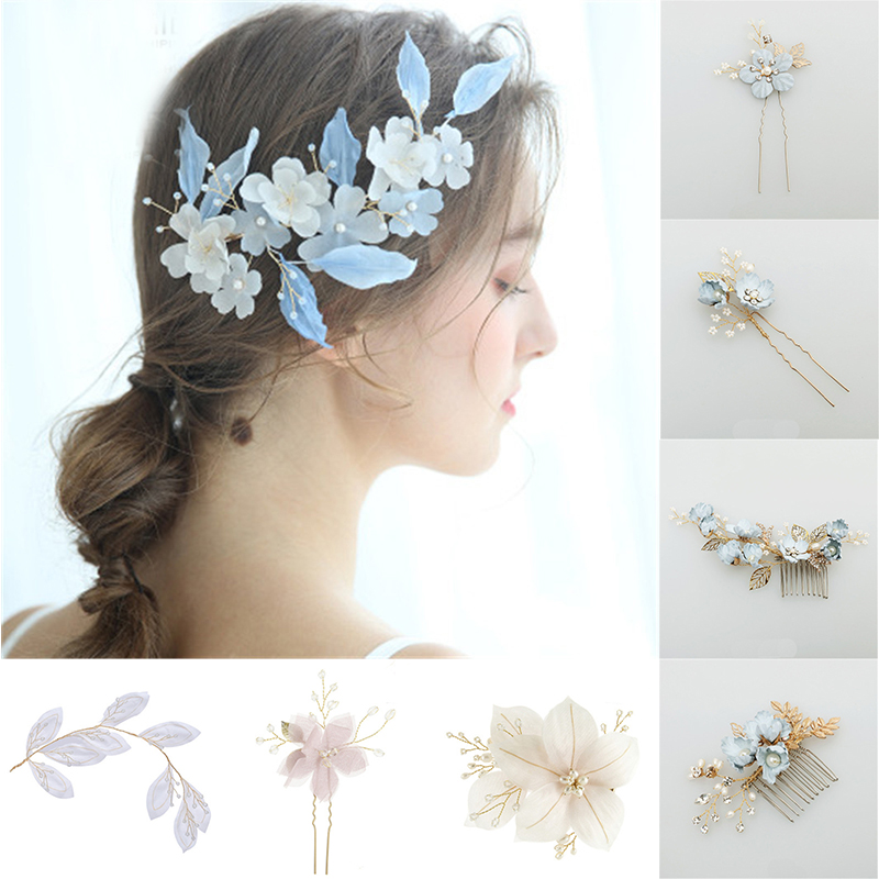 Flowers Bridal Hair Combs Trendy Women Jewelry Accessories Beauty Handmade Bride Headwear Blue Flowers Headband Charms Headdress